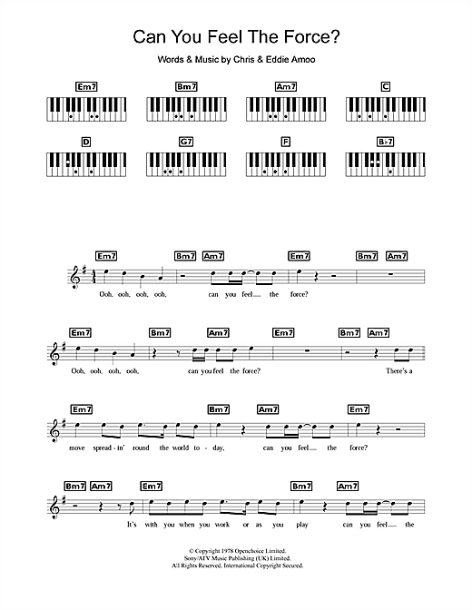 The Real Thing Can You Feel The Force? sheet music notes and chords. Download Printable PDF.