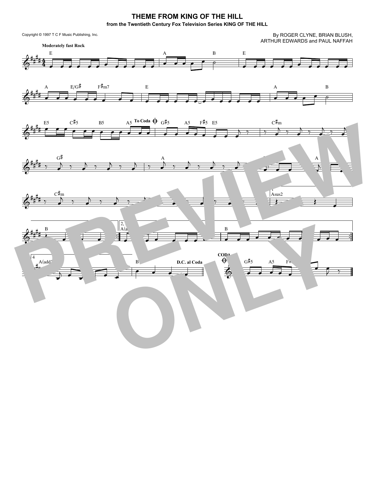 The Refreshments Theme From King Of The Hill sheet music notes and chords. Download Printable PDF.