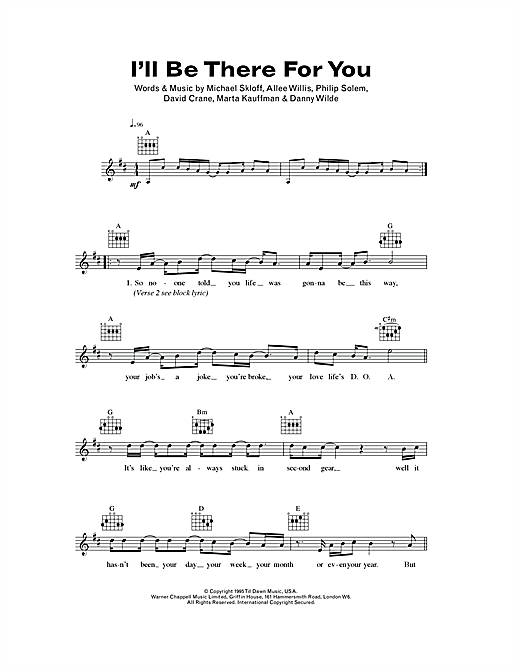 The Rembrandts I'll Be There For You (theme from Friends) sheet music notes and chords. Download Printable PDF.