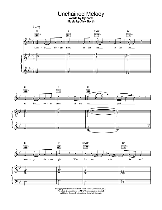 The Righteous Brothers Unchained Melody sheet music notes and chords