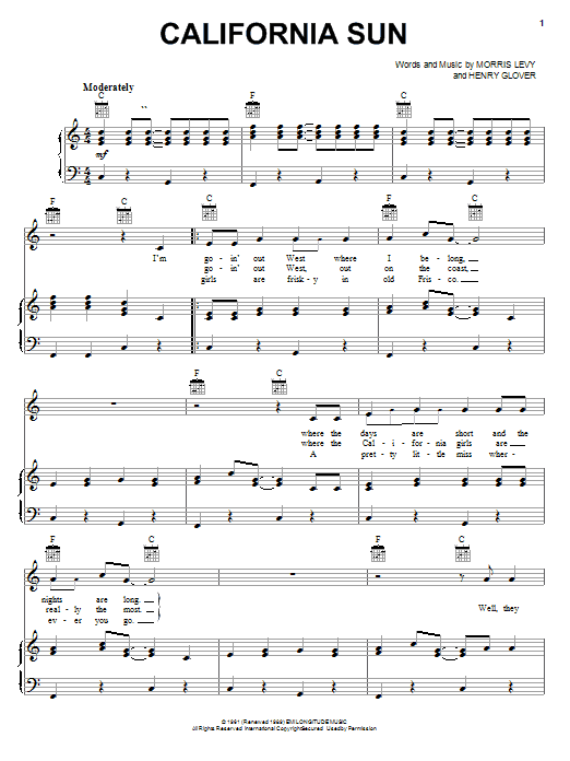 The Rivieras California Sun sheet music notes and chords