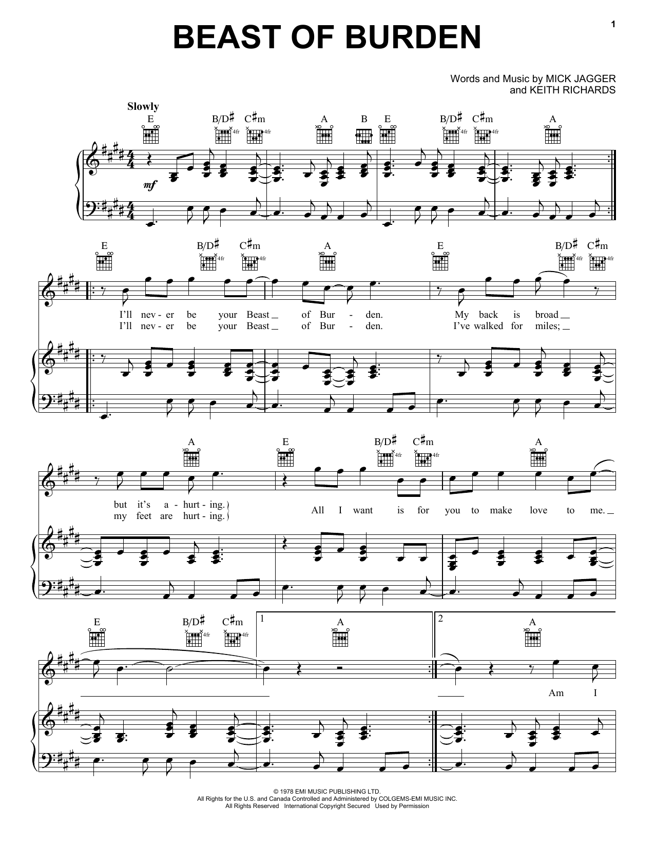 The Rolling Stones 'Beast Of Burden' Sheet Music Notes, Chords | Download  Printable Piano, Vocal & Guitar (Right-Hand Melody) - SKU: 16606