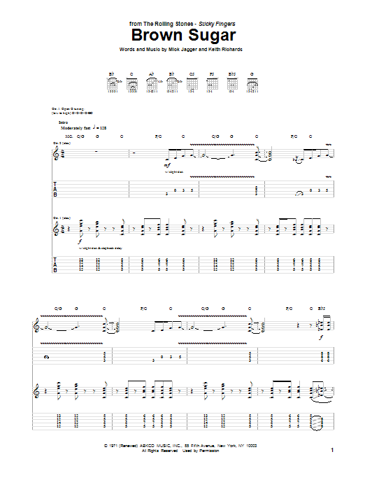 The Rolling Stones Brown Sugar sheet music notes and chords. Download Printable PDF.
