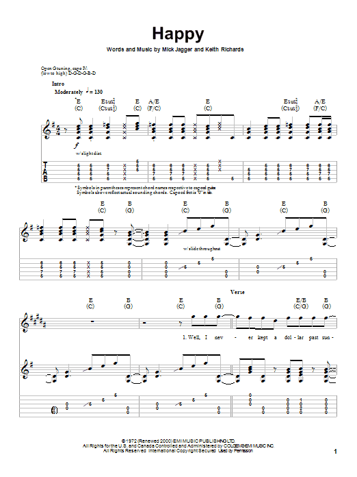 The Rolling Stones Happy sheet music notes and chords. Download Printable PDF.