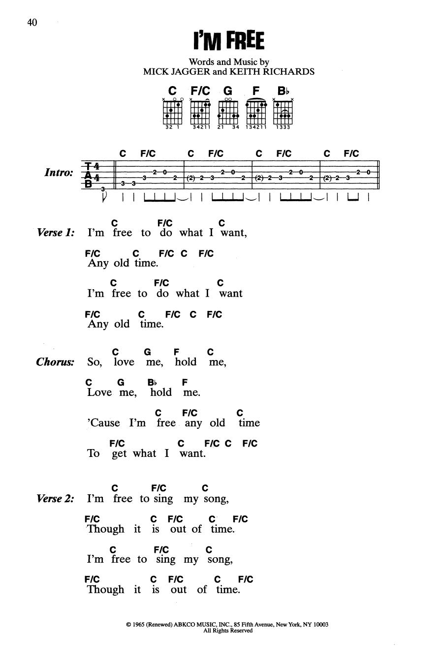The Rolling Stones I'm Free Sheet Music Notes, Chords   Download Printable  Guitar Chords/Lyrics PDF Score   SKU 15