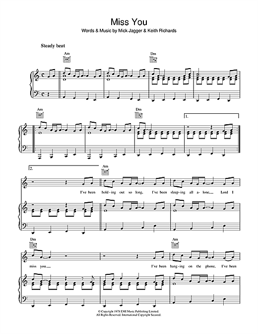 The Rolling Stones Miss You sheet music notes and chords. Download Printable PDF.