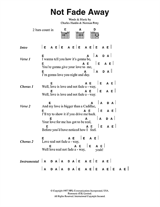 The Rolling Stones Not Fade Away sheet music notes and chords. Download Printable PDF.
