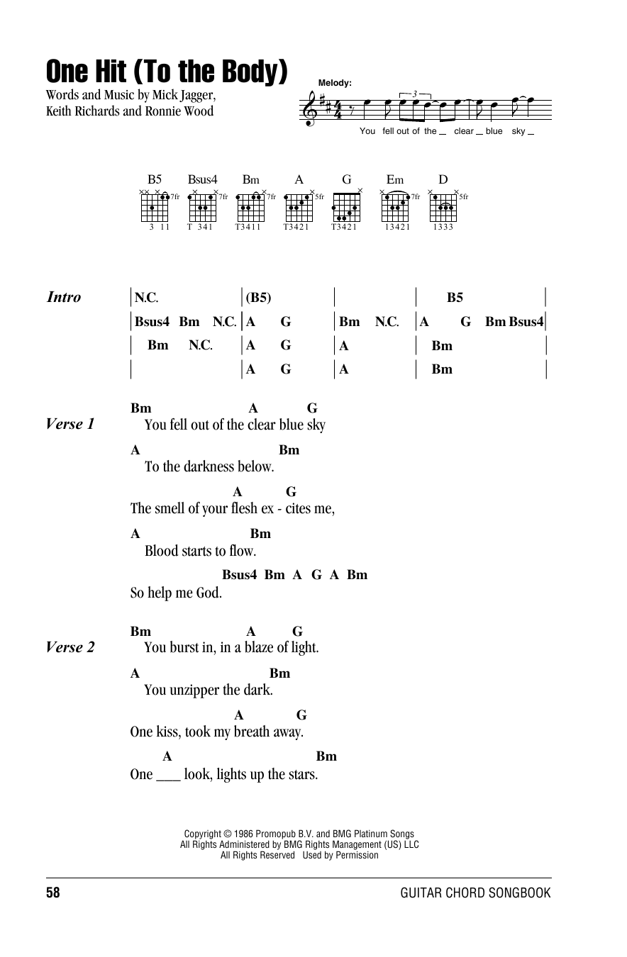 The Rolling Stones One Hit (To The Body) sheet music notes and chords