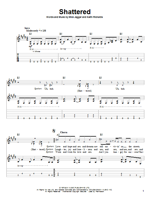 The Rolling Stones Shattered sheet music notes and chords