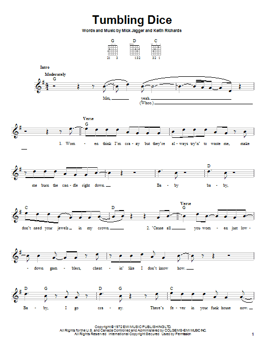 The Rolling Stones Tumbling Dice sheet music notes and chords. Download Printable PDF.