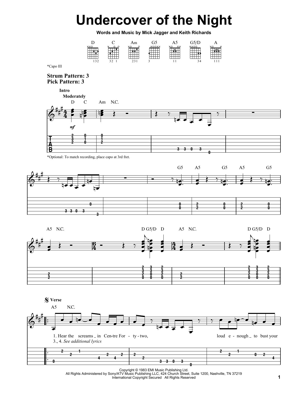 The Rolling Stones Undercover Of The Night sheet music notes and chords