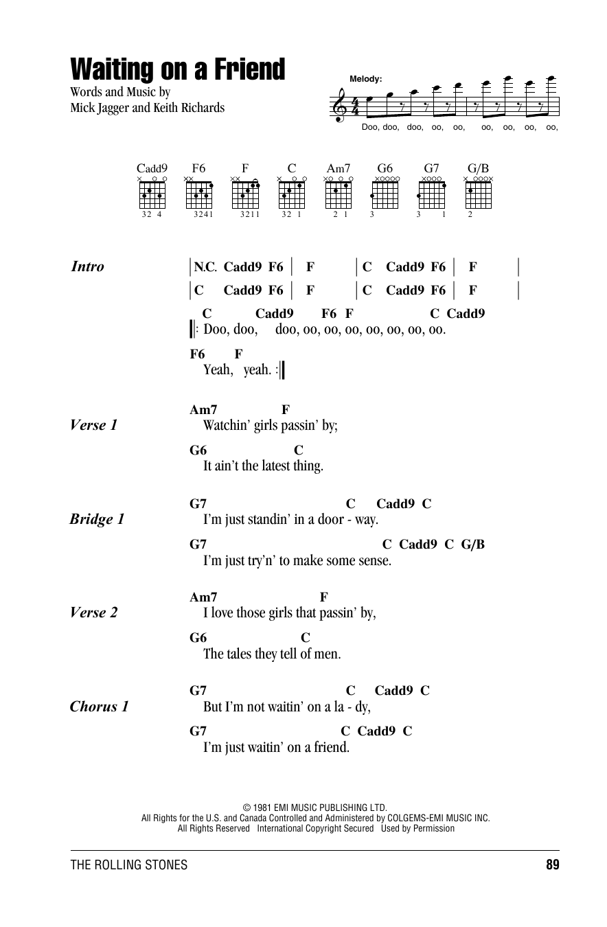 The Rolling Stones Waiting On A Friend sheet music notes and chords