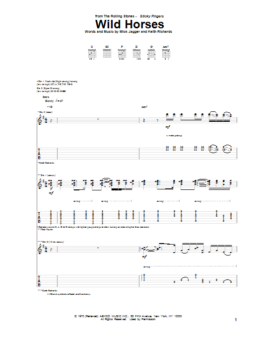 The Rolling Stones Wild Horses sheet music notes and chords. Download Printable PDF.