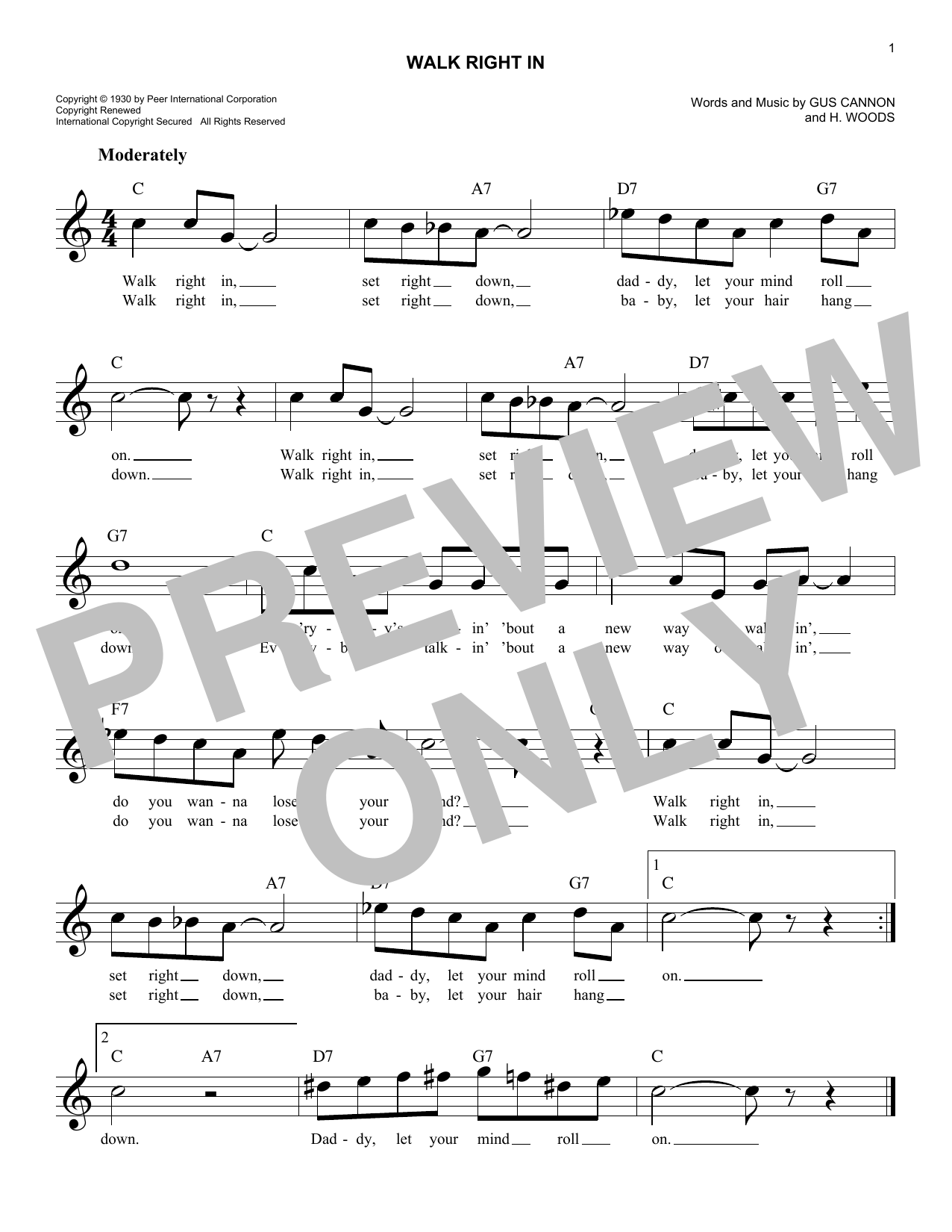 The Rooftop Singers Walk Right In sheet music notes and chords. Download Printable PDF.