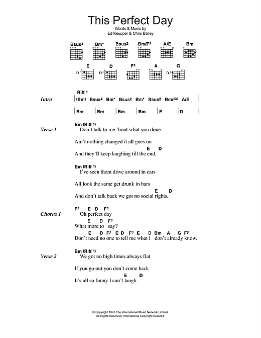 The Saints This Perfect Day sheet music notes and chords. Download Printable PDF.