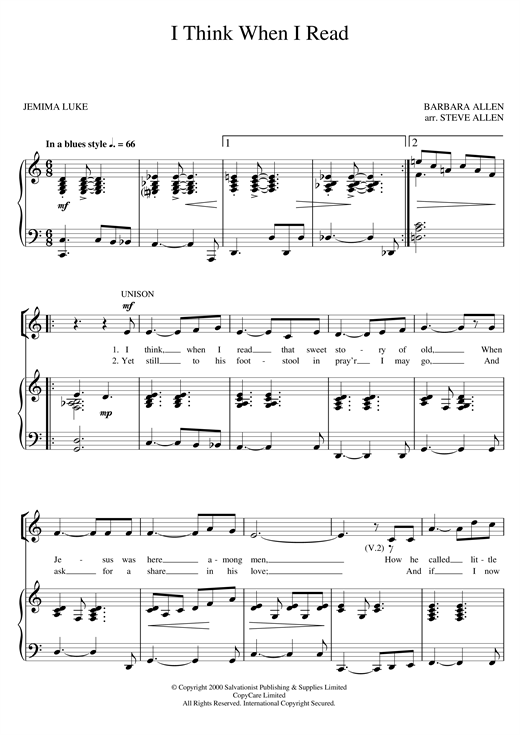 The Salvation Army I Think When I Read sheet music notes and chords. Download Printable PDF.