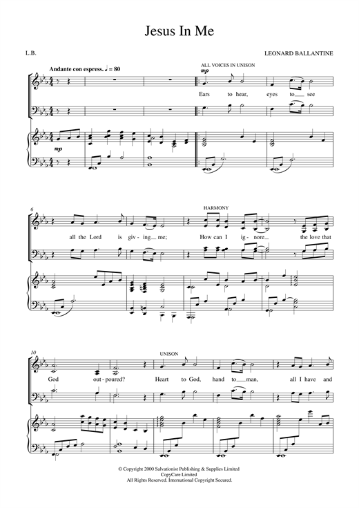 The Salvation Army Jesus In Me sheet music notes and chords. Download Printable PDF.