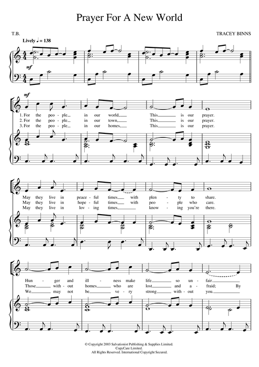 The Salvation Army Prayer For A New World sheet music notes and chords. Download Printable PDF.