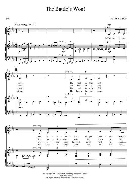 The Salvation Army The Battle's Won! sheet music notes and chords. Download Printable PDF.