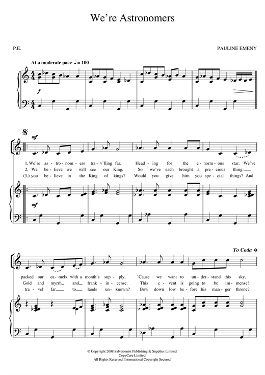 The Salvation Army We're Astronomers sheet music notes and chords