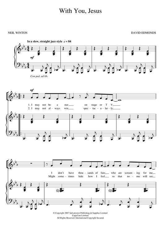 The Salvation Army With You, Jesus sheet music notes and chords