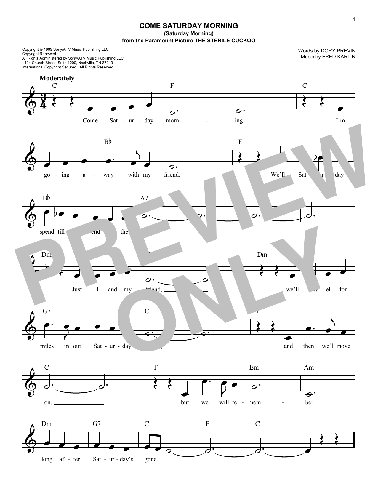The Sandpipers Come Saturday Morning (Saturday Morning) sheet music notes and chords. Download Printable PDF.