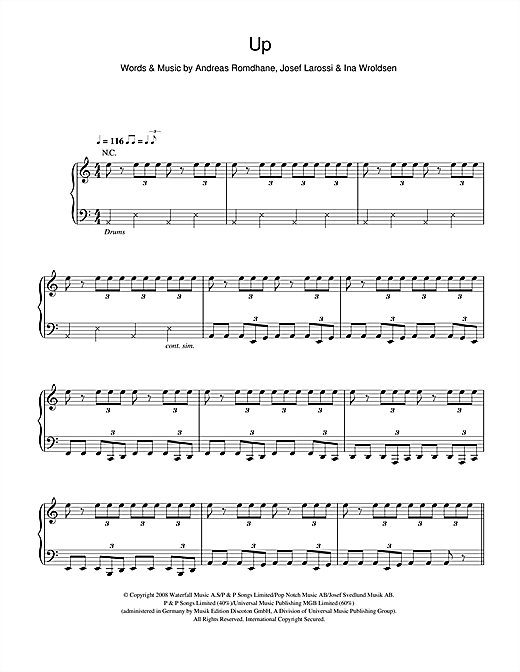 The Saturdays Up sheet music notes and chords. Download Printable PDF.