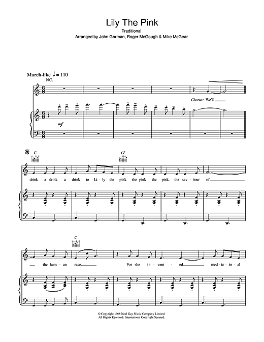 The Scaffold Lily The Pink sheet music notes and chords. Download Printable PDF.