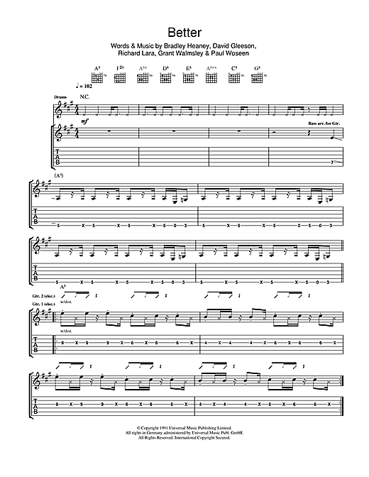 The Screaming Jets Better sheet music notes and chords. Download Printable PDF.