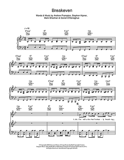 The Script Breakeven sheet music notes and chords. Download Printable PDF.