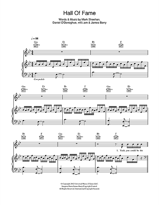 The Script 'Hall Of Fame (feat  will i am)' Sheet Music Notes, Chords |  Download Printable Easy Piano - SKU: 116039
