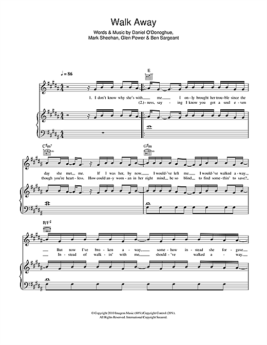The Script Walk Away sheet music notes and chords. Download Printable PDF.