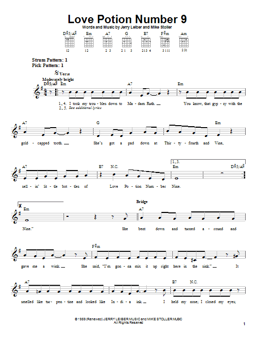The Searchers Love Potion Number 9 sheet music notes and chords. Download Printable PDF.