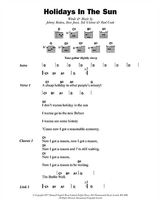 The Sex Pistols Holidays In The Sun sheet music notes and chords. Download Printable PDF.