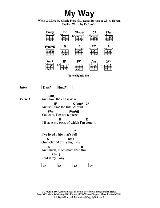 The Sex Pistols My Way sheet music notes and chords. Download Printable PDF.