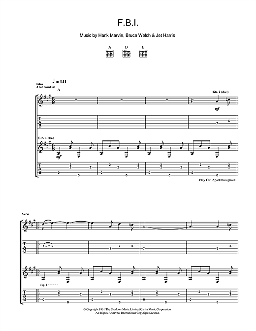 The Shadows F.B.I. sheet music notes and chords. Download Printable PDF.