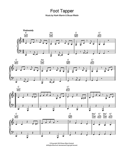 The Shadows Foot Tapper sheet music notes and chords. Download Printable PDF.
