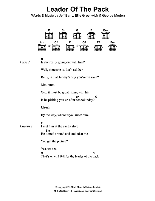 The Shangri-Las Leader Of The Pack sheet music notes and chords. Download Printable PDF.