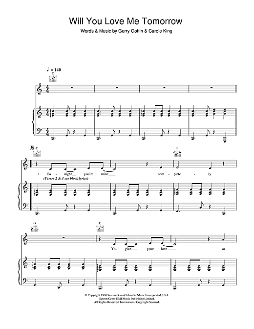 The Shirelles Will You Love Me Tomorrow sheet music notes and chords. Download Printable PDF.