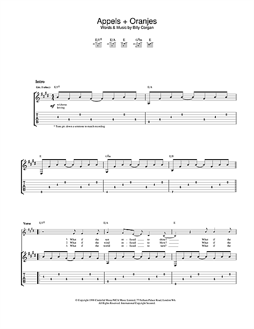 The Smashing Pumpkins Appels + Oranjes sheet music notes and chords. Download Printable PDF.