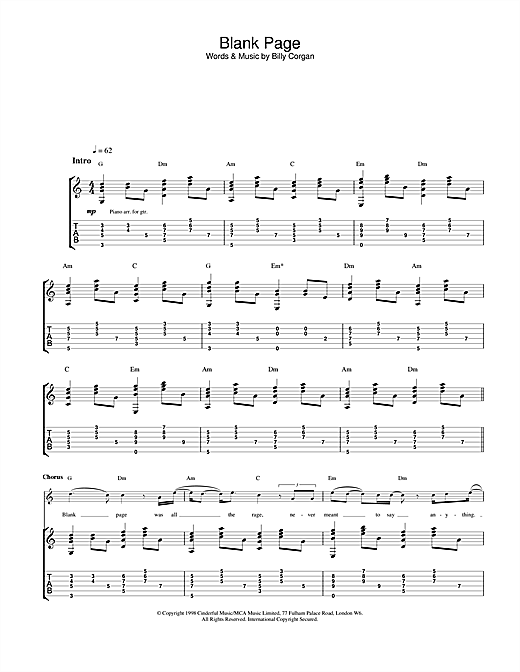 The Smashing Pumpkins Blank Page sheet music notes and chords