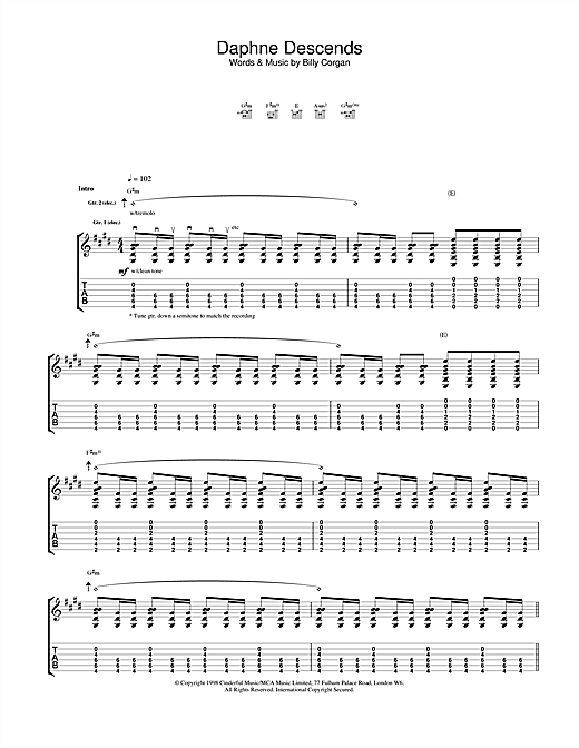 The Smashing Pumpkins Daphne Descends sheet music notes and chords