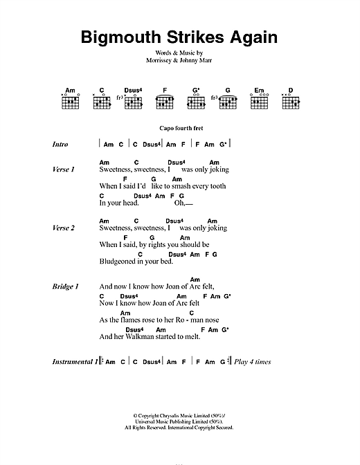 The Smiths Bigmouth Strikes Again sheet music notes and chords. Download Printable PDF.