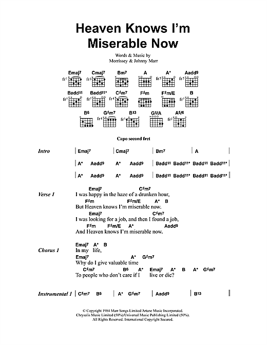 The Smiths Heaven Knows I'm Miserable Now sheet music notes and chords. Download Printable PDF.