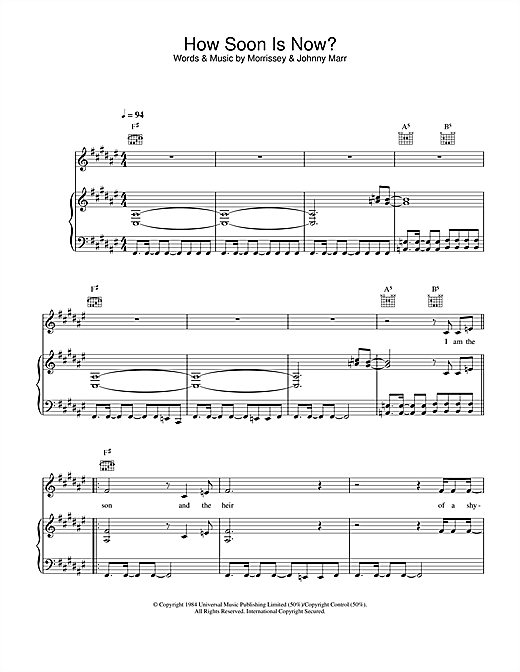 The Smiths How Soon Is Now? sheet music notes and chords. Download Printable PDF.