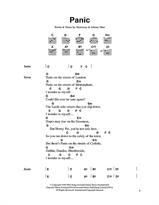 The Smiths Panic sheet music notes and chords. Download Printable PDF.