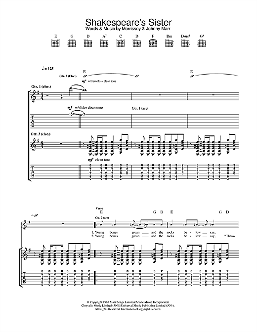The Smiths Shakespeare's Sister sheet music notes and chords
