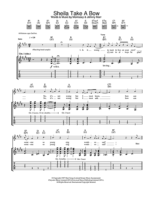 The Smiths Sheila Take A Bow sheet music notes and chords. Download Printable PDF.