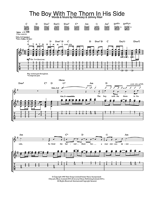 The Smiths The Boy With The Thorn In His Side sheet music notes and chords. Download Printable PDF.