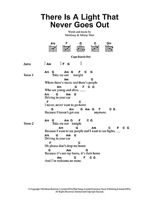 The Smiths There Is A Light That Never Goes Out sheet music notes and chords. Download Printable PDF.